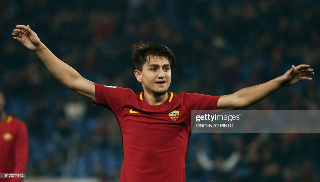 AS Roma's midfielder from Turkey Cengiz Under celebrates after scoring his second goal during the Italian Serie A football match AS Roma vs Benevento on February 11, 2018, at the Olympic Stadium in Rome. / AFP PHOTO / Vincenzo PINTO
