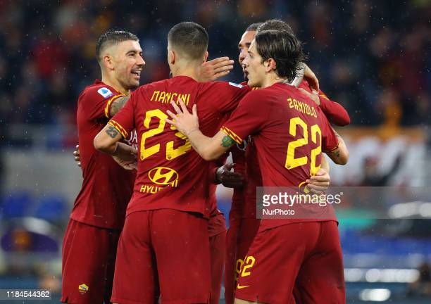 Roma's players celebration during the Serie A match AS Roma v Brescia Fc at the Olimpico Stadium in Rome Italy on November 24 2019