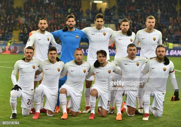 AS Roma's players REAR Greek defender Kostas Manolas Brazilian goalkeeper Alisson Becker Argentinian defender Federico Fazio Dutch midfielder Kevin...