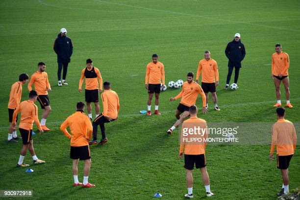 AS Roma's players take part in a training session a day before Champion's League round of 16 secondleg football match AS Roma vs Shakhtar Donetsk on...