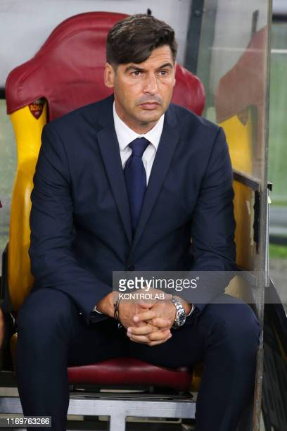 Roma's Portuguese coach Paulo Fonseca looks on during the UEFA Europa League Group J football match AS Roma vs Istambul Basaksehir FK on September 19...