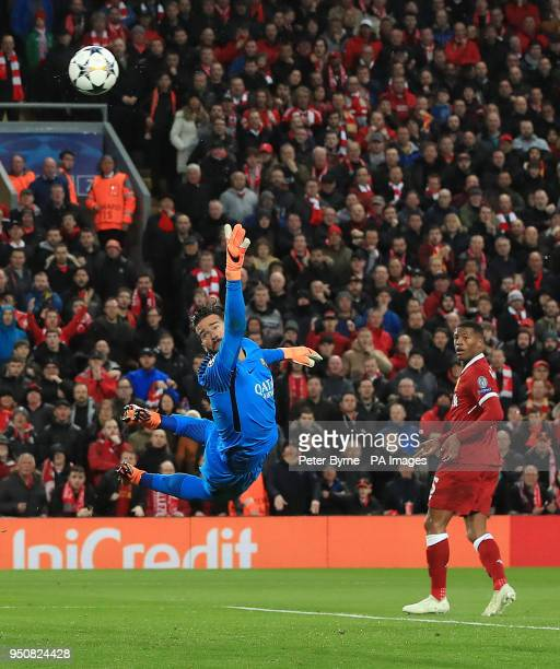 AS Roma's Ramses Alisson fails to stop Liverpool's Mohamed Salah's shot going in for Liverpool's first goal during the UEFA Champions League Semi...
