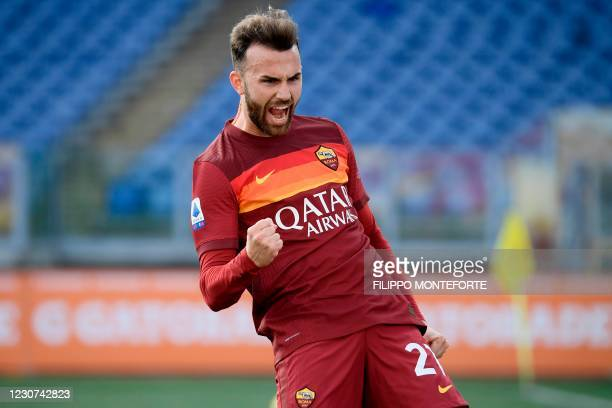 Roma's Spanish forward Borja Mayoral celebrates after opening the scoring during the Italian Serie A football match AS Rome vs La Spezia on January...