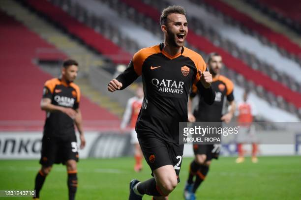 Roma's Spanish forward Borja Mayoral celebrates scoring his team's second goal during the UEFA Europa League round of 32 first leg football match...