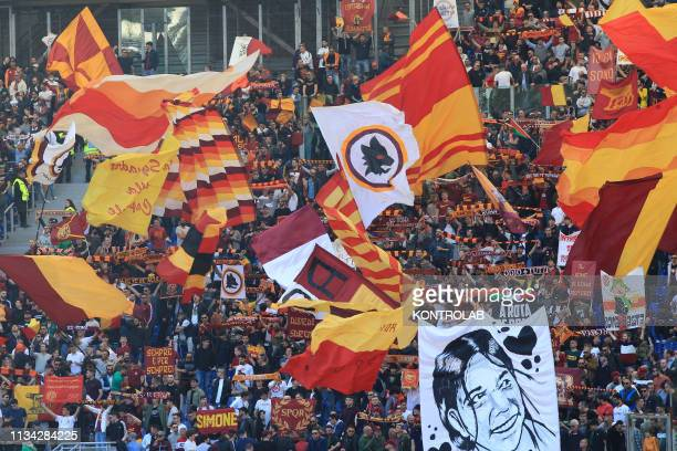 Roma's supporters cheers during the Serie A football match AS Roma vs SSC Napoli at the Olimpico Stadium SSC Napoli won the match 41