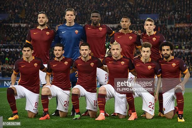AS Roma's team players Roma's defender from Greece Konstas Manolas Roma's goalkeeper from Poland Wojciech Szczesny Roma's defender from Germany...