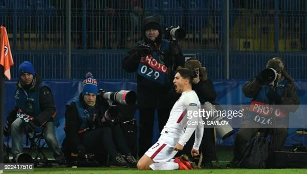Roma's Turkish midfielder Cengiz Under celebrates after scoring during the UEFA Champions League round of 16 first leg football match between Shaktar...