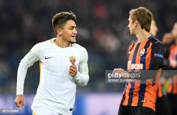 Roma's Turkish midfielder Cengiz Under celebrates scoring a goal against Shakhtar Donetsk during the UEFA Champions League round of 16 first leg...