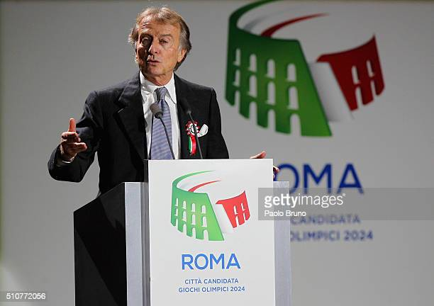 Rome 2024 Committee President Luca Cordero di Montezemolo unveils Rome's bid for the 2024 Summer Olympic Games at Palazzo dei Congressi in Rome Italy