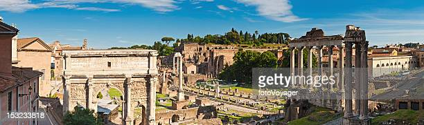 Rome ancient Roman Forum temples tourists Palatine Hill panorama Italy