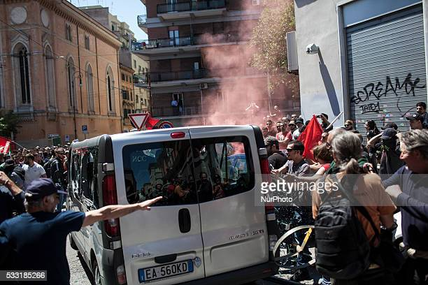 Anti fascist activists assault a van with four German fascists believed inside during a demonstration against Italian farright political movement...