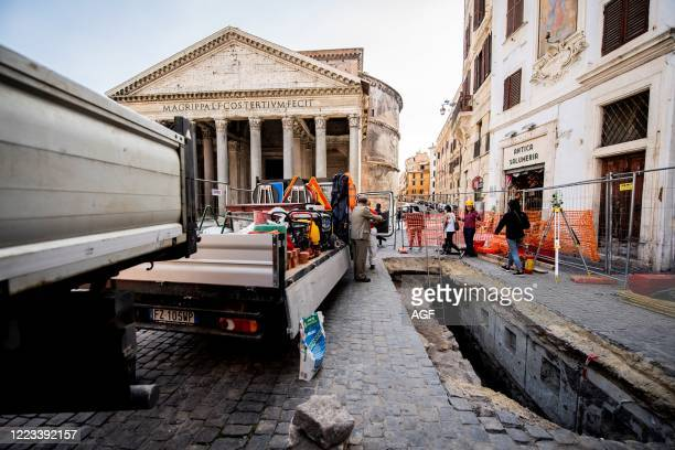 Rome archaeological investigations following the opening of a hole in Piazza della Rotonda in front of the Pantheon have unearthed the ancient...