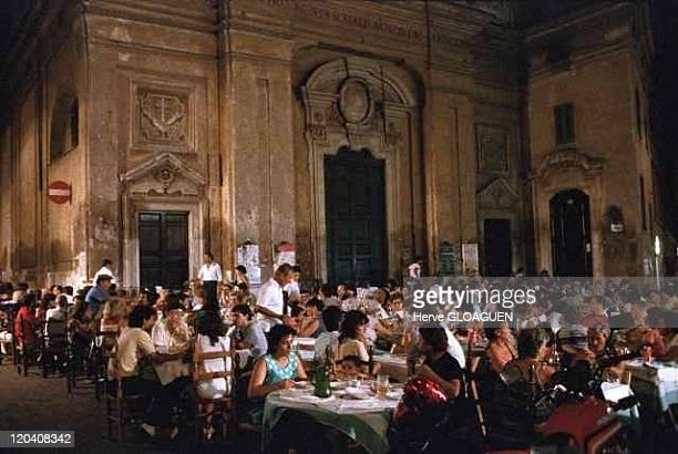 Rome at night in Italy in 1983 Trastevere's district festival of noantri