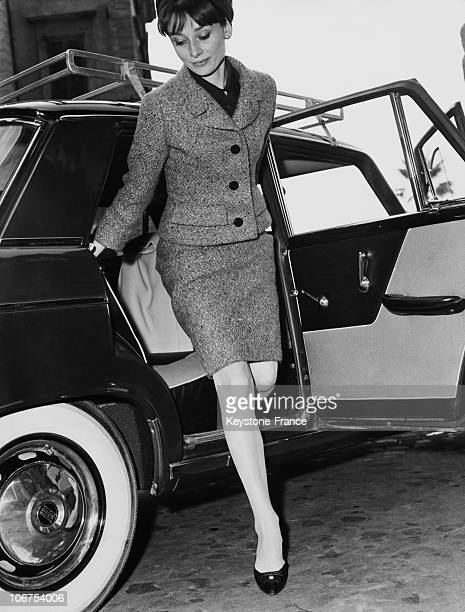 Rome Audrey Hepburn Getting Off The Car March 11Th 1964