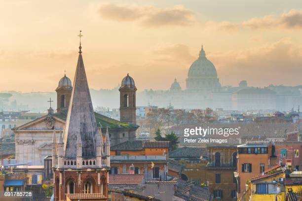Rome cityscape with the dome of St. Peter's Basilica in the background