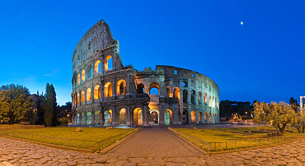 Rome Coliseum Ancient Roman Amphitheatre Illuminated Piazza Panorama Italy Wall Art