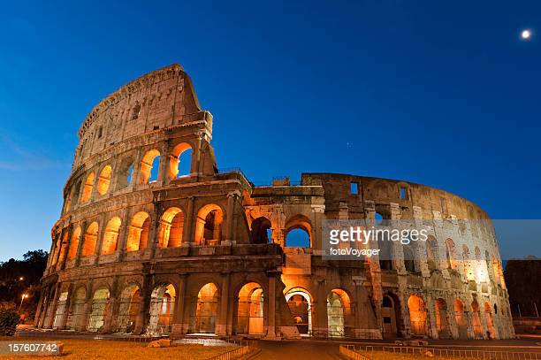 rome colosseo spotlit landmark stars moon roman ampitheatre coliseum italy - coliseum rome stock photos and pictures