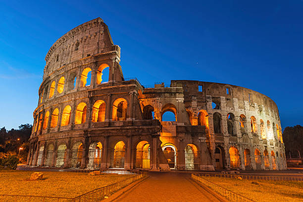 Rome Colosseum Ancient Amphitheatre Illuminated At Dawn Wall Art