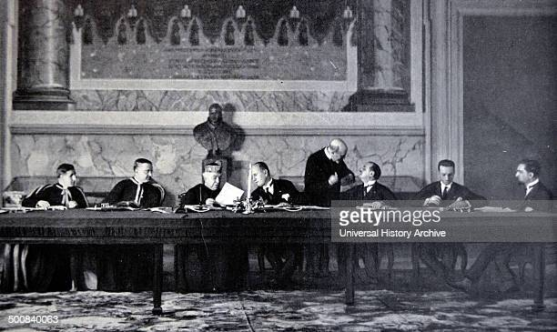 Rome February 11 1929 The high Plenipotentiaries and the dignitaries who attended the signing of the 'Treaty of the Lateran'