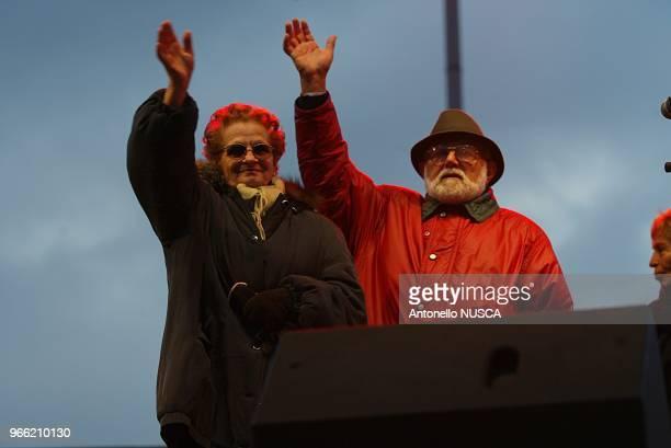 Rome, february 19, 2005. Giuliana Sgrena's father Franco Sgrena and his wife Antonietta.