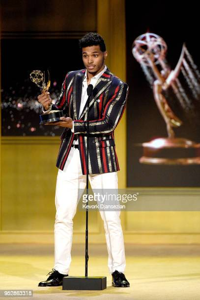 Rome Flynn winner of Outstanding Younger Actor in a Drama Series for 'The Bold and the Beautiful' accepts award onstage during the 45th annual...