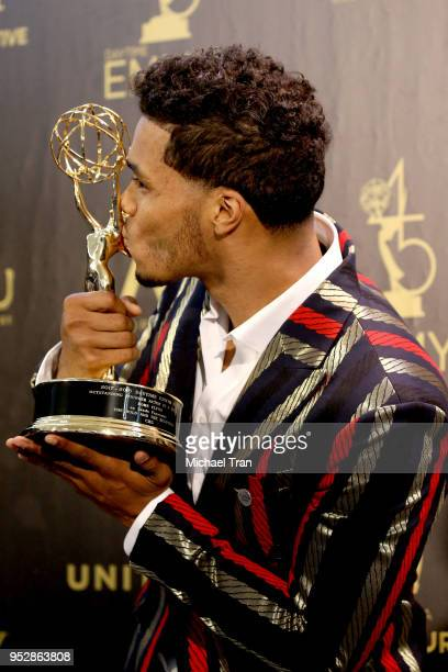 Rome Flynn winner of Outstanding Younger Actor in a Drama Series for 'The Bold and the Beautiful' poses in the press room during the 45th annual...