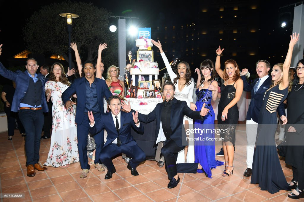 Rome Flynn,Don Diamont,Katherine Kelly Lang,Darin Brooks,Pierson Fode,Reign Edwards,Jacquelines MacInnes Wood and Courtney Hope attend the 'The Bold and The Beautiful' 30th Years anniversary during the 57th Monte Carlo TV Festival : Day 3 on June 18, 2017 in Monte-Carlo, Monaco.