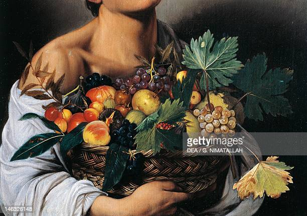 Rome Galleria Borghese The Fruttaiolo or Boy with a Basket of Fruit 15931594 by Michelangelo Merisi known as Caravaggio oil on canvas 70x67 cm Detail