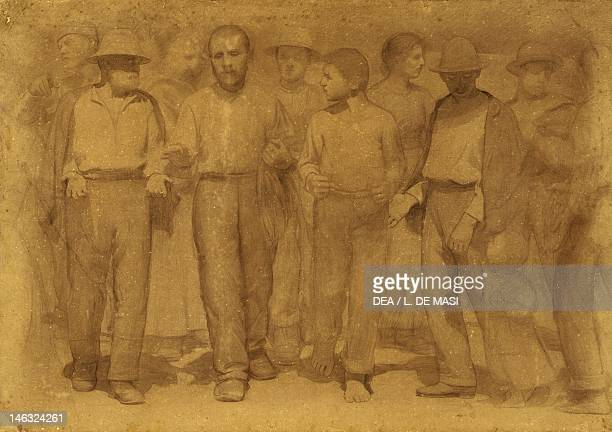 Rome Galleria Nazionale D'Arte Moderna Group of workers study for the fourth state ca 1898 by Giuseppe Pellizza da Volpedo pencil and charcoal on...