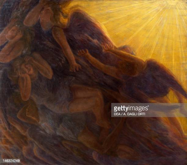 Rome, Galleria Nazionale D'Arte Moderna The fall of the angels, triptych by Gaetano Previati , oil on canvas, 230x260 cm middle panel, 230x135 cm...