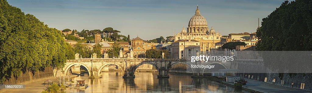 Rome golden dawn over River Tiber Vatican City panorama Italy : Stock Photo