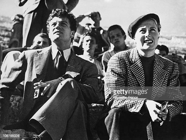 Rome Henri Vidal And Michele Morgan During The Filming Of Fabiola In 1948