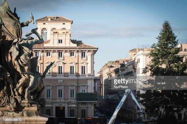 Rome Italy 04 December Rome's official Christmas tree during the preparation at Venice square in Rome Italy 04 December 2018 The tree more than 20...