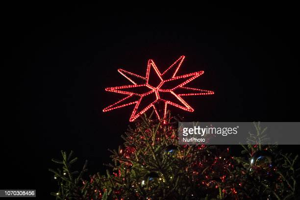 Rome Italy 08 December The Mayor of Rome Virginia takes part in the lighting ceremony of the Christmas tree lighting in Piazza Venezia and Via del...