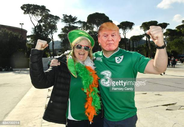 Rome Italy 11 February 2017 Ireland supporters Anne Scriver from Ranelagh Dublin and Hughie Mullen from Rathgar Dublin ahead of the RBS Six Nations...
