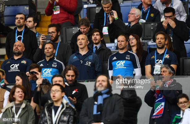 Rome Italy 11 February 2017 Italy head coach Conor O'Shea centre and his backroom team during the RBS Six Nations Rugby Championship match between...