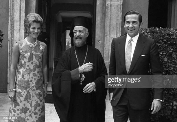 Rome Italy 12th September 1970 Selfexiled King Constantine of Greece and Queen Marie pictured with the President of Cyprus Archibishop Makarios