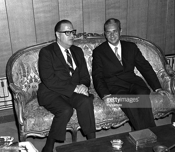 Rome Italy 18th June 1970 Israeli Foreign Minister Abba Eban with his Italian counterpart Aldo Moro during their meeting