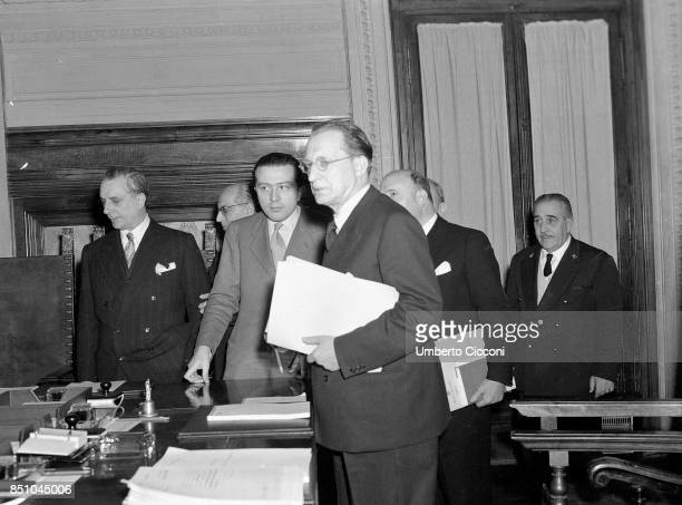 Rome Italy 1947 The fifth De Gasperi government the second on the left is Umberto Tupini then the Christian Democrat Guilio Andreotti and Alcide De...