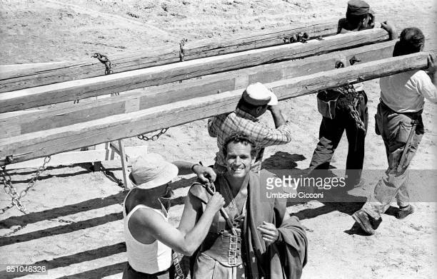 Rome Italy 1958 Charlton Heston at Cinecitta during the making of the film 'Ben Hur' Finishing touches to his ancientRoman costume