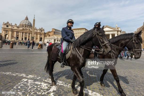 Rome Italy 24th March 2017 Italian paramilitary police patrol stands in front of the Vatican in Saint Peter Square a day ahead of an European Union...