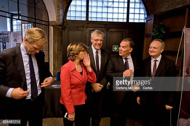 Rome Italy 27January 2016 In pictured Joep Wijnands ambassador of the Kingdom of the Netherlands in Rome Catherine Colonna Ambassador of France in...