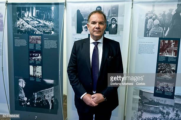 Rome Italy 27January 2016 In pictured Mario Venezia founding chairman of the Holocaust Museum in Rome during Opening of the exhibition 'Anne Frank a...