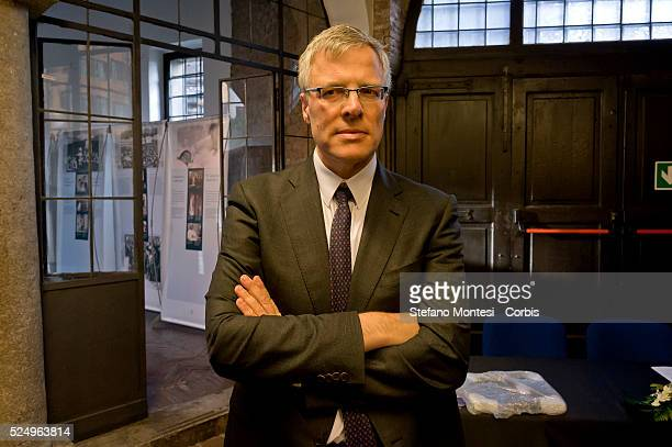 Rome Italy 27January 2016 In pictured Naor Gilon Israeli ambassador in Rome during Opening of the exhibition 'Anne Frank a history for today '...