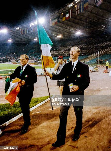 Rome Italy 30 June 1990 Republic of Ireland manager Jack Charlton and assistamt manager Maurice Setters left after the FIFA World Cup 1990...