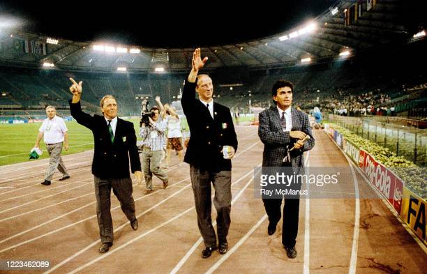 Rome Italy 30 June 1990 Republic of Ireland manager Jack Charlton and assistant Maurice Setters left waves to supporters after the FIFA World Cup...