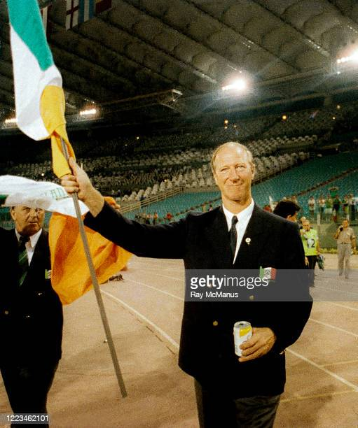 Rome Italy 30 June 1990 Republic of Ireland manager Jack Charlton waves to supporters after the FIFA World Cup 1990 QuarterFinal match between Italy...