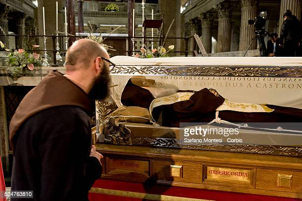 Rome Italy 3th Febraury 2016 The relic of St Leopold Mandic from Padua in the Basilica of San Lorenzo Fuori le mura awaiting the arrival of St Pio of...