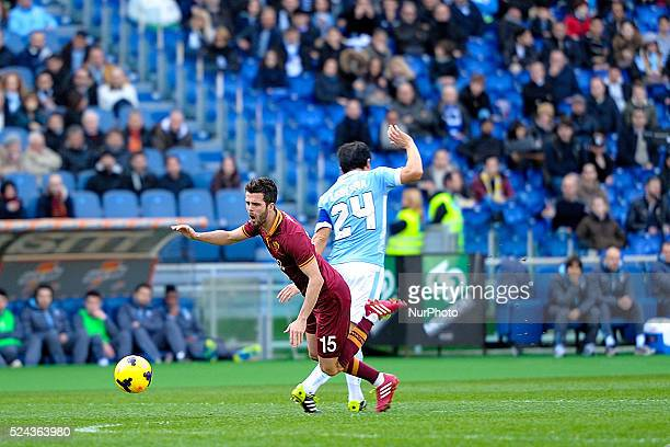 Rome Italy 9th Feb 2014 Miralem Pjanic and Cristian Ledesma during Football / Soccer Italian Serie A match between SS Lazio and AS Roma at Stadio...