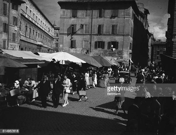 A section of Rome's Campo di Fiore most notorious of the city's markets This was headquarters for Italian black marketeers during the war and...